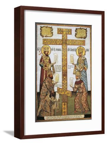 Veneration of Cross With--Framed Art Print