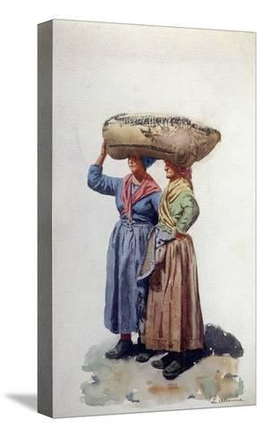 Two Women Dock Workers at Genoa Port, C.1890-L. Allavena-Stretched Canvas Print