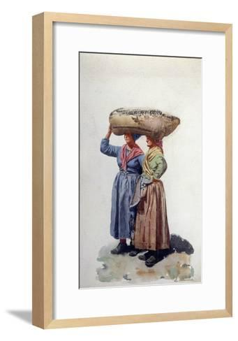 Two Women Dock Workers at Genoa Port, C.1890-L. Allavena-Framed Art Print