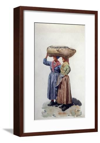 Two Women Dock Workers at Genoa Port, C.1890-L. Allavena-Framed Art Print