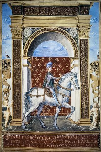 Portrait of Francesco Sforza on Horseback--Stretched Canvas Print
