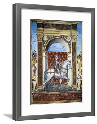 Portrait of Francesco Sforza on Horseback--Framed Art Print