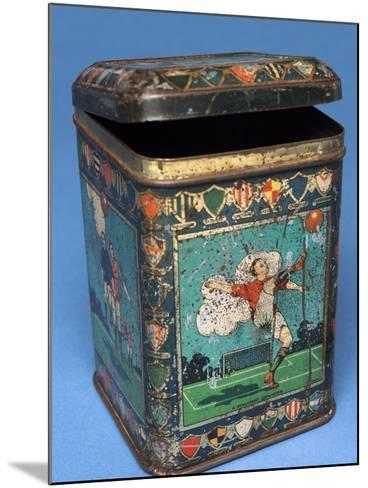 Biscuit Tin with Football Scenes--Mounted Photographic Print