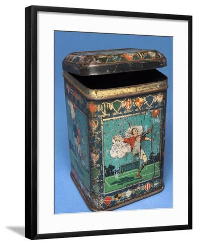 Biscuit Tin with Football Scenes--Framed Art Print
