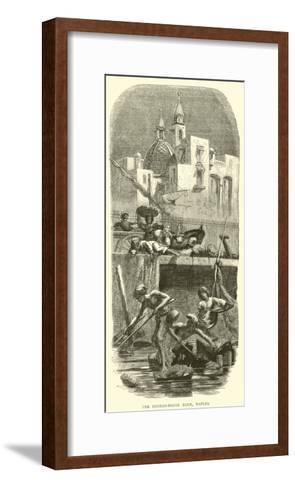 The Custom-House Dock, Naples--Framed Art Print