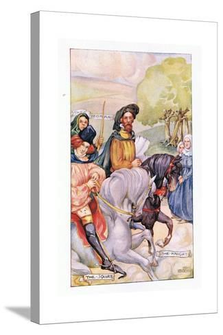 In Attendance on the Knight Was His Son-Anne Anderson-Stretched Canvas Print