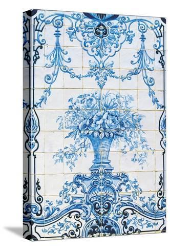 Vase of Flowers, Azulejos Tiles, Estoi Palace--Stretched Canvas Print
