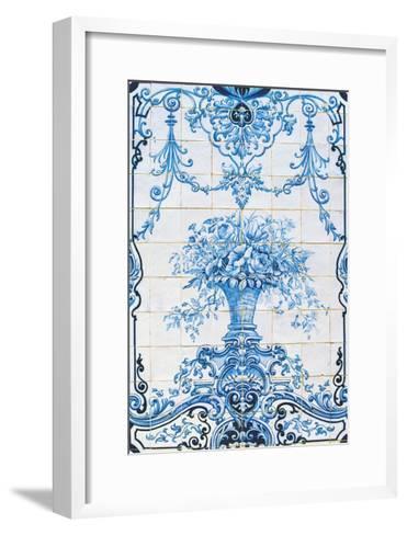 Vase of Flowers, Azulejos Tiles, Estoi Palace--Framed Art Print