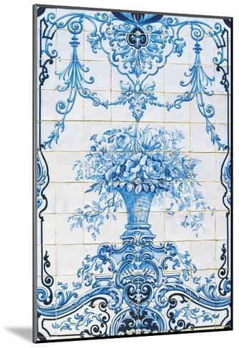 Vase of Flowers, Azulejos Tiles, Estoi Palace--Mounted Giclee Print