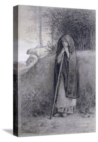 Shepherdess-Jean-Fran?ois Millet-Stretched Canvas Print