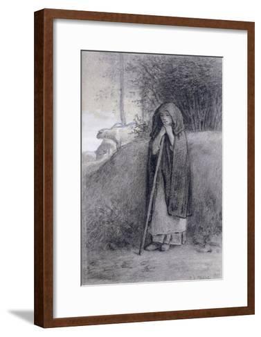 Shepherdess-Jean-Fran?ois Millet-Framed Art Print