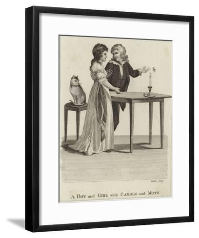 A Boy and a Girl with a Candle and a Moth--Framed Art Print