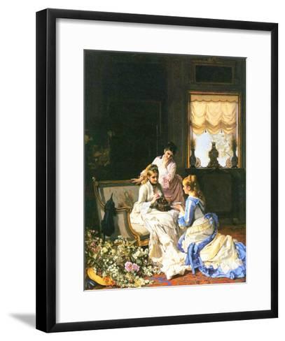 Girls with a Nest-Charles Baugniet-Framed Art Print