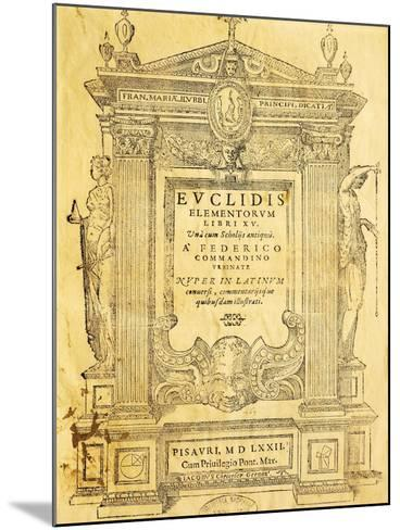 Title Page of Elementa- Euclid-Mounted Giclee Print