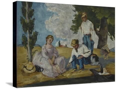 Picnic on a Riverbank, 1873-74-Paul C?zanne-Stretched Canvas Print