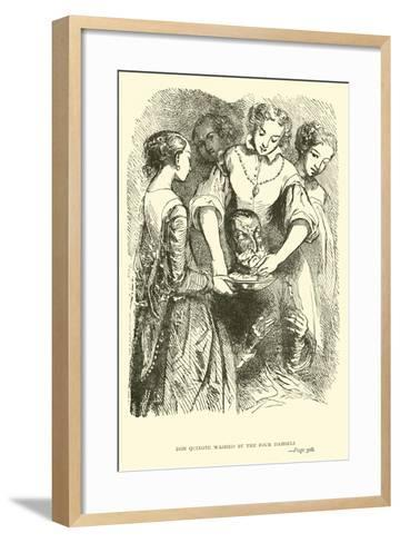 Don Quixote Washed by the Four Damsels-Sir John Gilbert-Framed Art Print