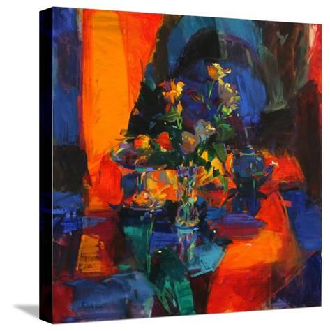Roses on a Blue Ground-Peter Graham-Stretched Canvas Print