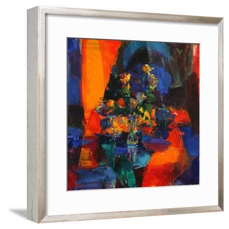Roses on a Blue Ground-Peter Graham-Framed Art Print