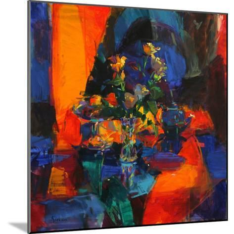 Roses on a Blue Ground-Peter Graham-Mounted Giclee Print