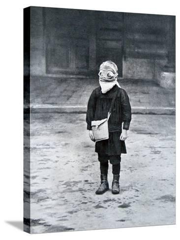 French Schoolboy Wearing a Gas Mask, 1916--Stretched Canvas Print