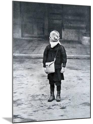 French Schoolboy Wearing a Gas Mask, 1916--Mounted Photographic Print