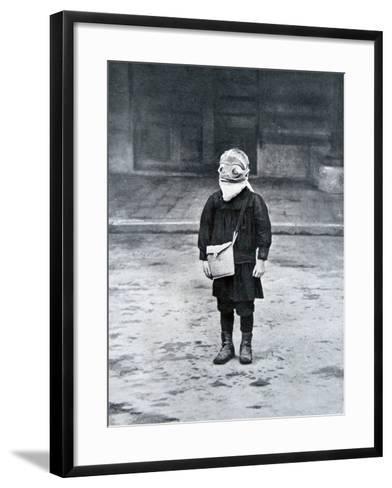 French Schoolboy Wearing a Gas Mask, 1916--Framed Art Print