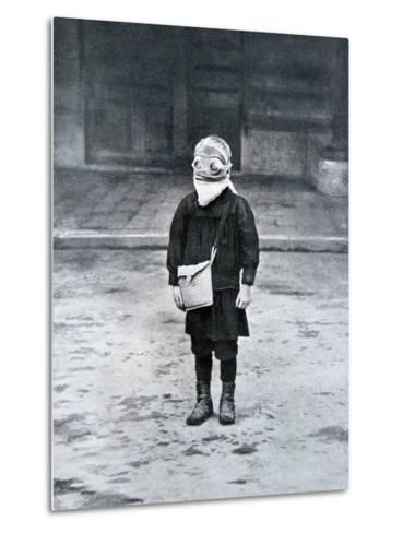 French Schoolboy Wearing a Gas Mask, 1916--Metal Print
