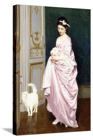 Feline Affection, 1872-Joseph Caraud-Stretched Canvas Print