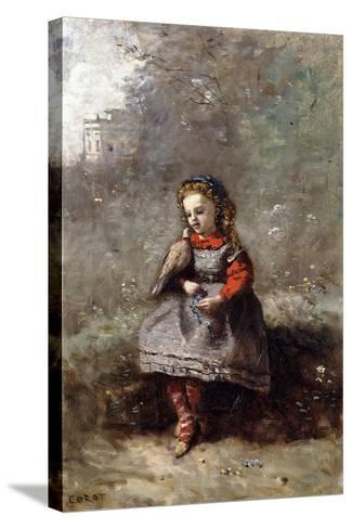 Mlle. Leotine Desavary Holding a Dove, 1872-Jean-Baptiste-Camille Corot-Stretched Canvas Print