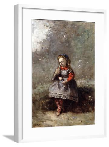Mlle. Leotine Desavary Holding a Dove, 1872-Jean-Baptiste-Camille Corot-Framed Art Print