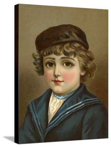 Boy, with Large Brown Eyes, in Sailor Suit--Stretched Canvas Print