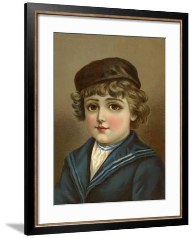 Boy, with Large Brown Eyes, in Sailor Suit--Framed Art Print