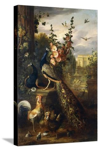 Two Peacocks on a Stone Plinth in a Garden-Jakob Bogdani Or Bogdany-Stretched Canvas Print