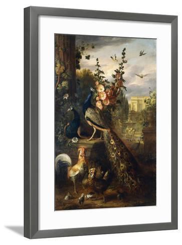 Two Peacocks on a Stone Plinth in a Garden-Jakob Bogdani Or Bogdany-Framed Art Print