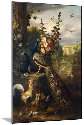 Two Peacocks on a Stone Plinth in a Garden-Jakob Bogdani Or Bogdany-Mounted Giclee Print