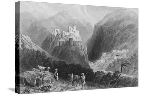 Castle in Mount Amana, Near the Khan Karamont-William Henry Bartlett-Stretched Canvas Print