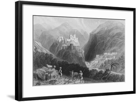 Castle in Mount Amana, Near the Khan Karamont-William Henry Bartlett-Framed Art Print
