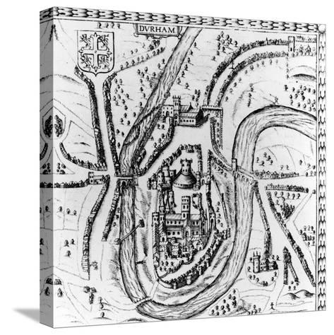 Map of the City of Durham, 17th Century--Stretched Canvas Print