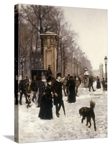 Promenade on a Winter Day, Brussels, 1887-Frans Gaillard-Stretched Canvas Print