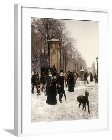 Promenade on a Winter Day, Brussels, 1887-Frans Gaillard-Framed Art Print