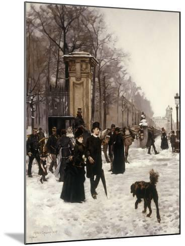 Promenade on a Winter Day, Brussels, 1887-Frans Gaillard-Mounted Giclee Print
