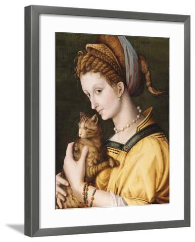 Lady with a Cat, C.1525-30-Francesco Ubertini, Il Bacchiacca-Framed Art Print