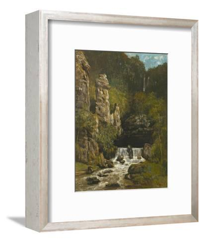 Landscape with a Waterfall, C.1865-Gustave Courbet-Framed Art Print