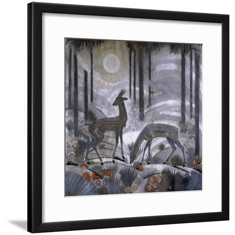 Two Deer in a Forest, C.1929-Jean Dunand-Framed Art Print