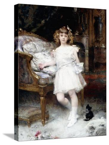 Portrait of Janine Potin with a Kitten, 1904-Aime Nicolas Morot-Stretched Canvas Print