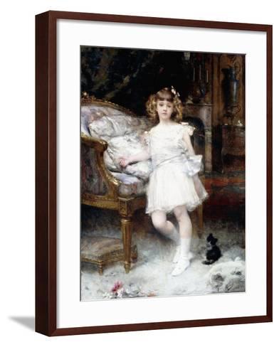Portrait of Janine Potin with a Kitten, 1904-Aime Nicolas Morot-Framed Art Print