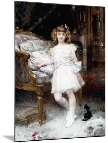 Portrait of Janine Potin with a Kitten, 1904-Aime Nicolas Morot-Mounted Giclee Print