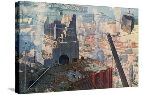 The Building of the Panama Canal, 1912--Stretched Canvas Print