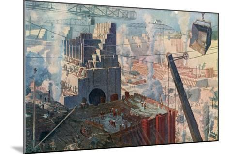 The Building of the Panama Canal, 1912--Mounted Giclee Print