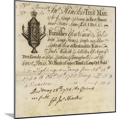 Tin Man, John Hinckes, Trade Card--Mounted Giclee Print